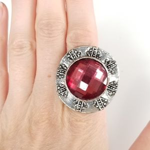 Red and silver tone ring, adjustable size